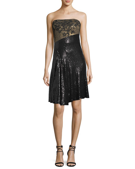 One-Shoulder Sequined Cocktail Dress