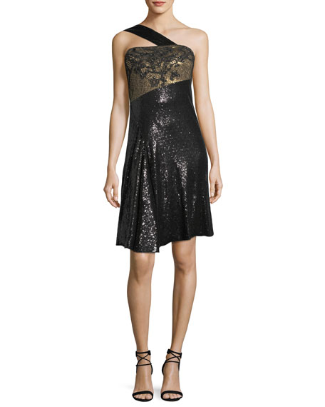 Rubin Singer One-Shoulder Sequined Cocktail Dress