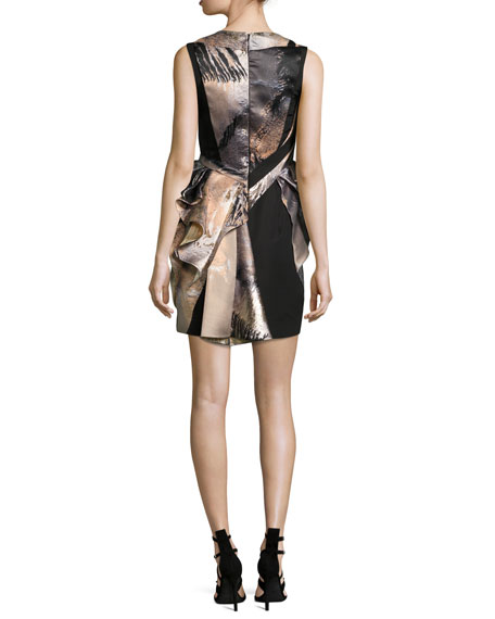 Metallic Gathered-Bodice Cocktail Dress