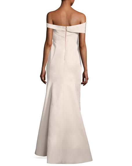 Off-the-Shoulder Seamed Column Gown