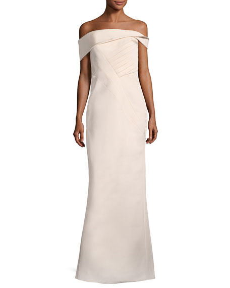 Off-the-Shoulder Seamed Column Gown