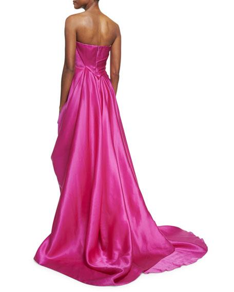 Draped Strapless Satin Gown, Fuchsia