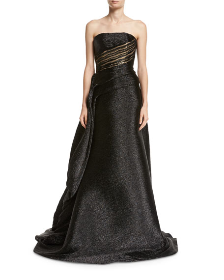 Metallic Strapless Draped-Side Ball Gown