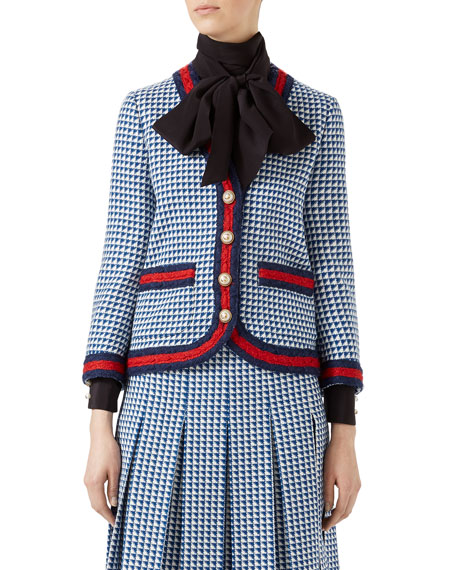 Striped Houndstooth Wool-Blend Jacket, Blue/White