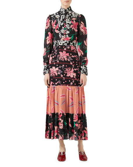 Gucci Patchwork Print Silk Sablé Dress