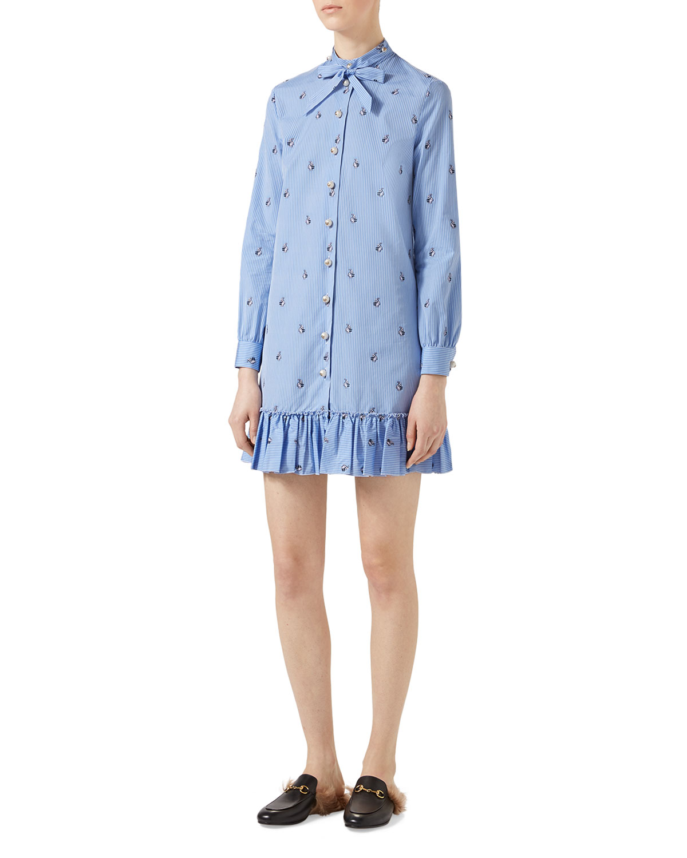 9187ab60a Gucci Rabbit Fil Coupé Long Shirt, Light Blue | Neiman Marcus