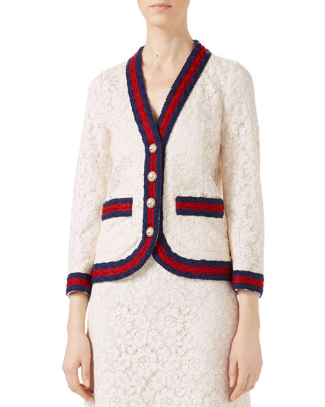 Gucci Cluny Lace Jacket with Web, White