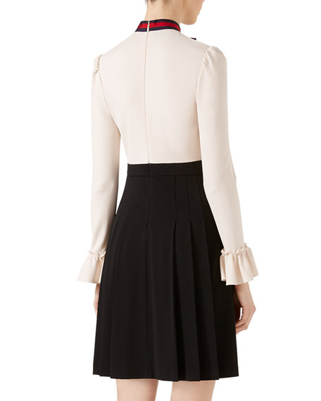 Viscose Jersey Dress, Ivory/Black