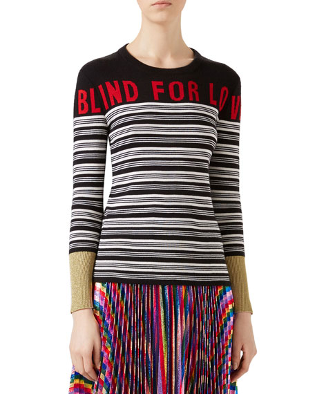 Gucci Blind for Love Striped Knit Top, Multicolor