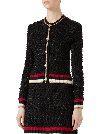 Gucci Knitted Cardigan with Web and Matching Items