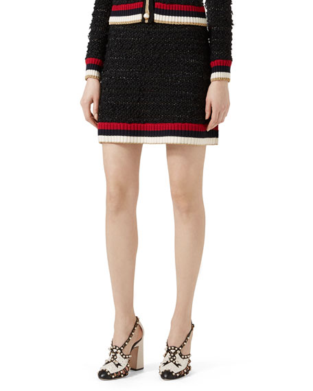 Gucci Knitted Skirt with Web, Multicolor