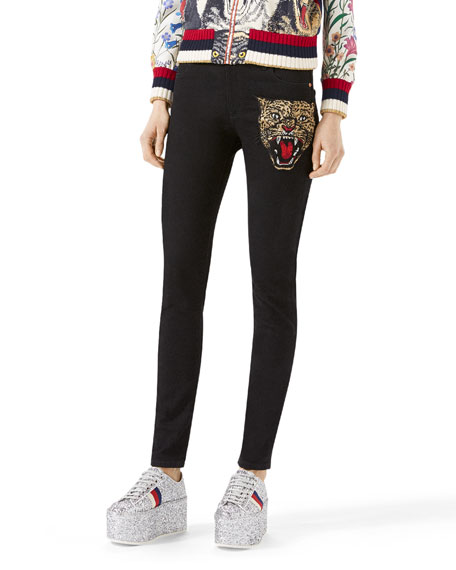 Gucci Angry Cat Embroidered Denim Pants, Black and