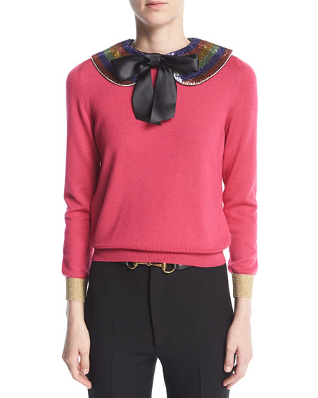 Cashmere Silk Knit Top with Detachable Collar, Pink