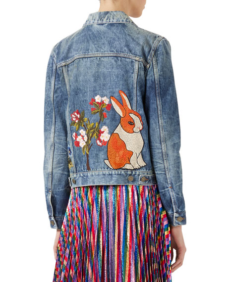 Embroidered Stained Denim Jacket, Blue