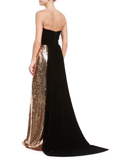 Strapless Velvet Sequined Column Gown