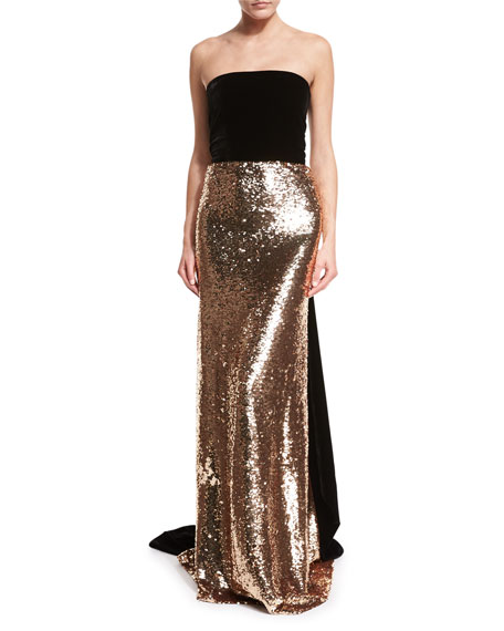 Monique Lhuillier Strapless Velvet Sequined Column Gown
