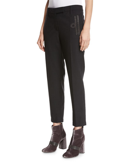 Brunello Cucinelli Monili-Scroll Cropped Wool-Blend Trousers