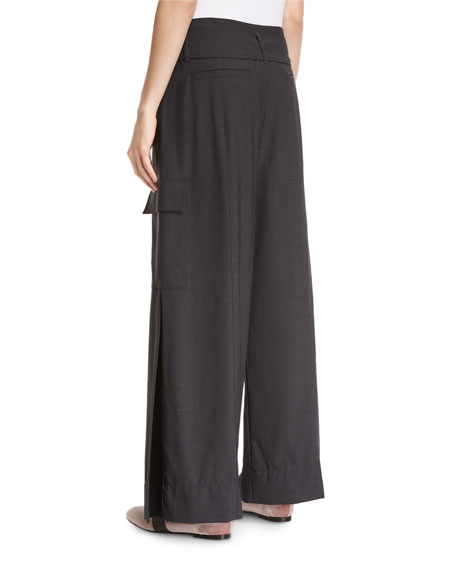 D-Ring Belted Tropical Wool Wide-Leg Pants
