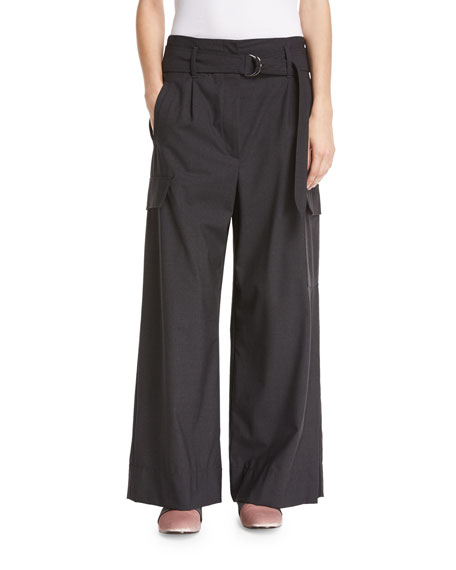 Brunello Cucinelli D-Ring Belted Tropical Wool Wide-Leg Pants
