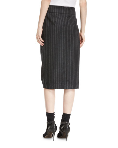 Flannel Regimental-Stripe Pencil Skirt with Feather Trim