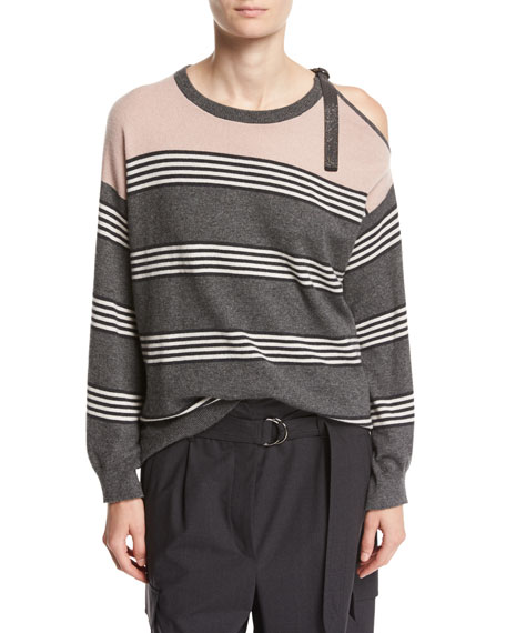 Brunello Cucinelli Striped Cashmere Cold-Shoulder Sweater