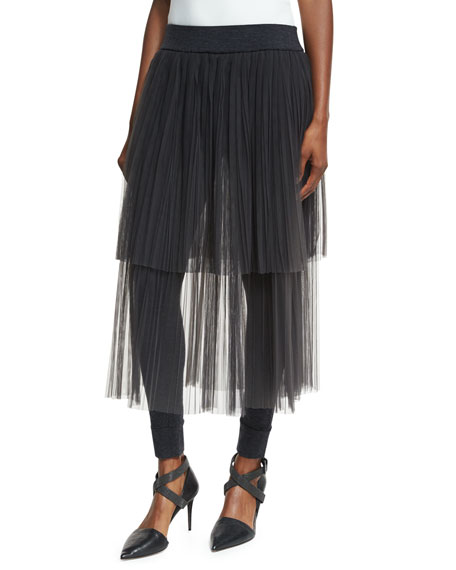 Brunello Cucinelli Layered Tulle Midi Skirt with Leggings