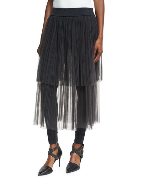 Layered Tulle Midi Skirt with Leggings