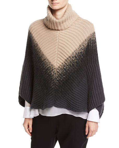 Brunello Cucinelli English-Rib Cashmere Dégradé Poncho