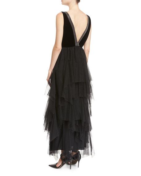 Velvet & Tulle Tiered Monili-Trim Gown