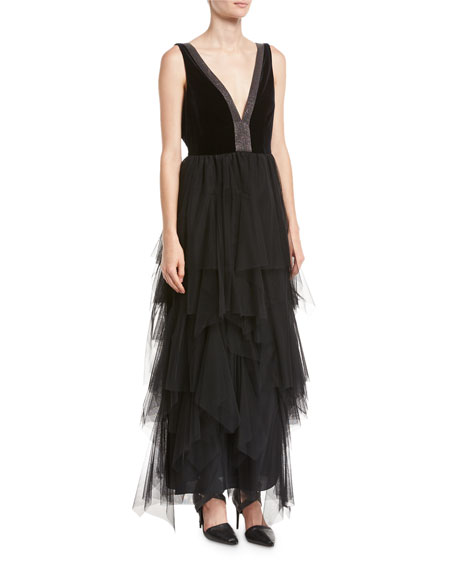 Brunello Cucinelli Velvet & Tulle Tiered Monili-Trim Gown