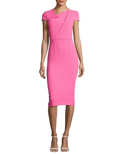 Origami Wool Crepe Sheath Dress, Pink