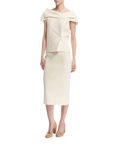 Arreton Wool Crepe Pencil Skirt, White