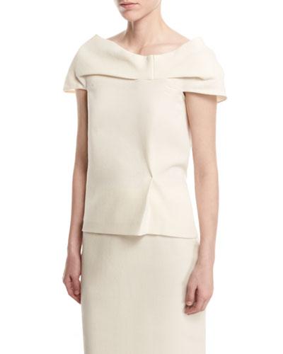 Wool Draped Cap-Sleeve Top, White