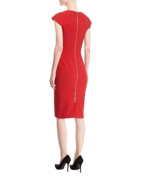 Hirta Cap-Sleeve Square-Neck Sheath Dress