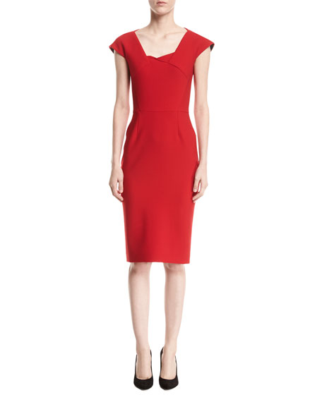 Roland Mouret Hirta Cap-Sleeve Square-Neck Sheath Dress, Red
