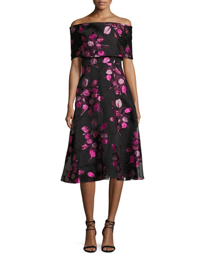 Tulip Fil Coupe Off-the-Shoulder A-Line Dress