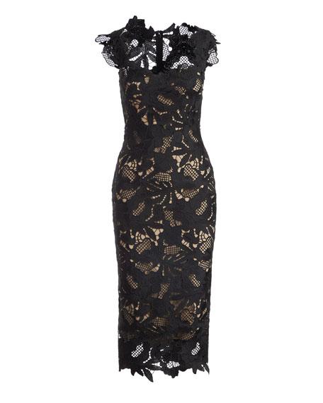 Scoop-Neck Guipure Lace Midi Dress