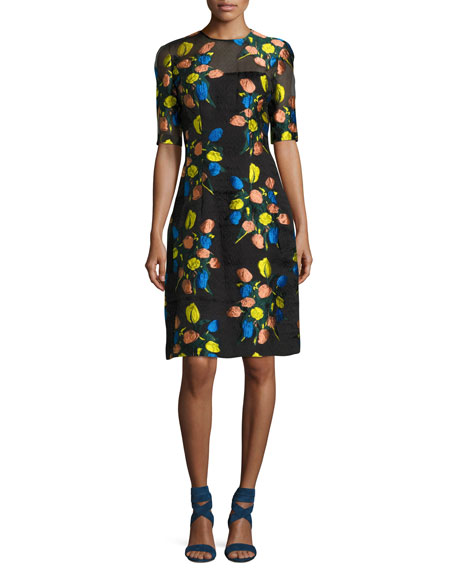 Lela Rose Holly Floral Fil Coupe Elbow-Sleeve Dress