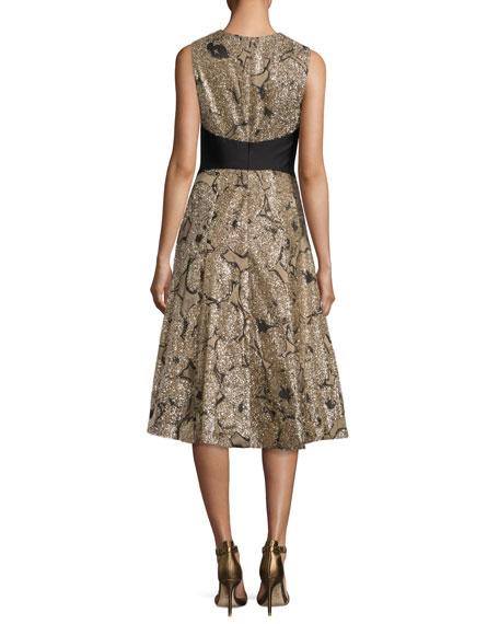 Juliet Metallic Tinsel Jacquard A-Line Dress