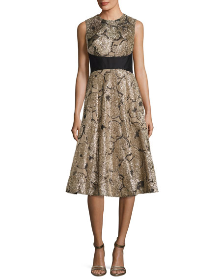 Lela Rose Juliet Metallic Tinsel Jacquard A-Line Dress