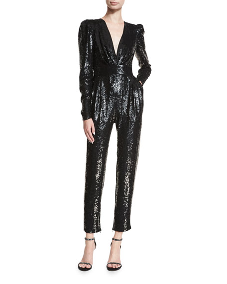 Sequined Long-Sleeve Jumpsuit