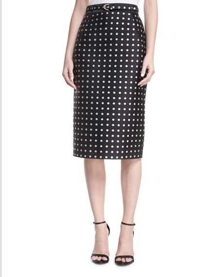 Ralph Lauren Collection Carlton Polka-Dot Pencil Skirt
