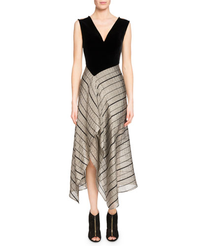 Dursley Striped-Skirt Midi Dress