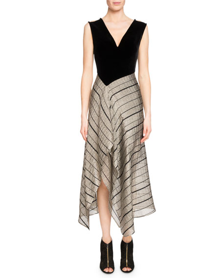 Roland Mouret Dursley Striped-Skirt Midi Dress