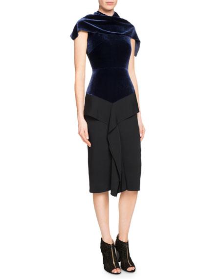 Cattsdell Velvet & Crepe Midi Dress