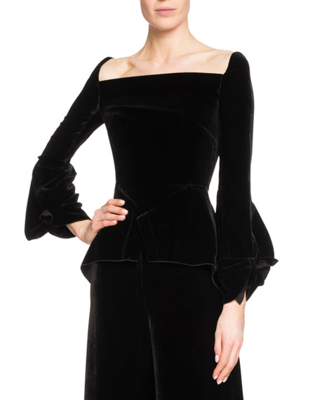 Roland Mouret Wicklow Square-Neck Velvet Top and Matching