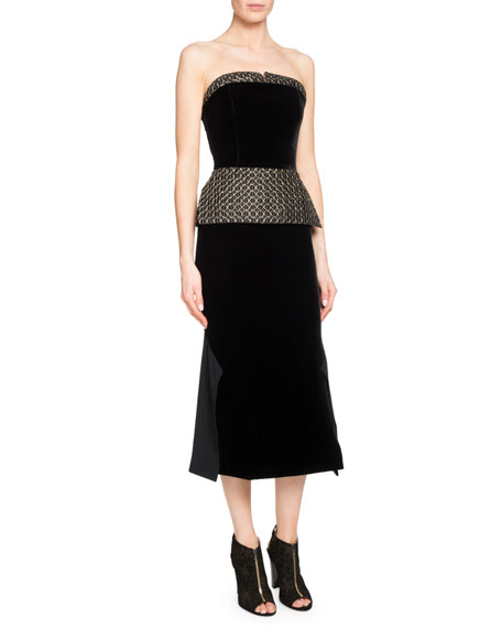 Alciston Strapless Peplum Dress