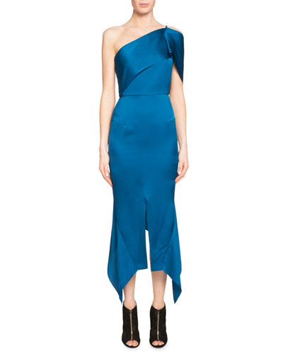 Harlow One-Shoulder Satin Handkerchief-Hem Midi Dress