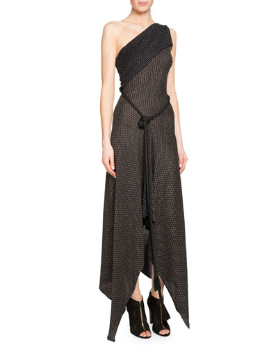 Begdale One-Shoulder Handkerchief Gown with Rope Belt