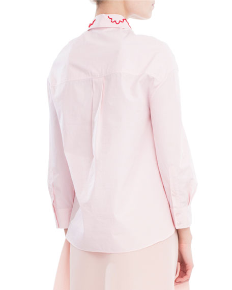 Smocked Cotton Shirt with Embroidered Collar